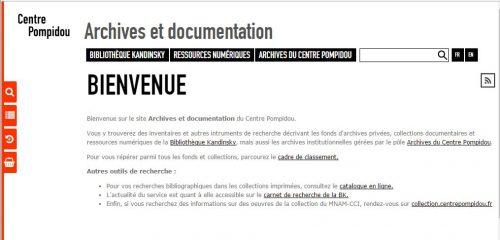 """Page d'accueil du site """"archives et documentation"""""""